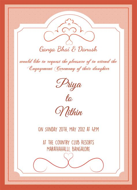 engagement ceremony invitation card  wordings check