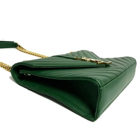 ysl green medium monogram envelope chain bag oliver