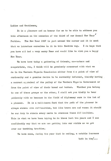 Speech At 3rd Annual New Year Party  Chief Festus Olawoyin Awosika (ofr), 19111965