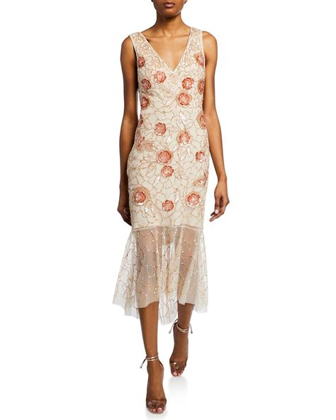 Aidan Mattox Floral Beaded V-Neck Sleeveless Midi Dress ...