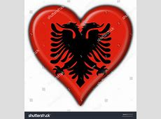 Albanian Button Flag Heart Shape Stock Illustration