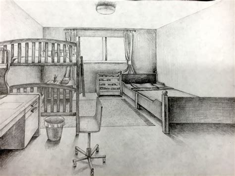 point perspective room drawing jennifer chen