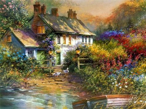 scenery wallpaper fond ecran paysage hiver maison