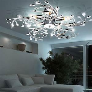 Lampen Wohnzimmer Decke : led decken beleuchtung g ste zimmer chrom ste lampe bl ten design leuchte 65 cm ebay ~ A.2002-acura-tl-radio.info Haus und Dekorationen