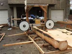 Cutting A Pine Board Using A Homemade Wood Bandsaw Mill