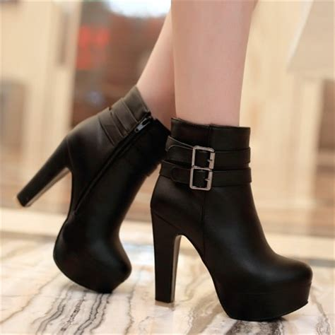 womens boots express womens faux leather comfortable ankle boots platform high heel booties for fashion buckle