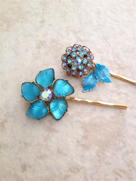 vintage teal hair pins floral flower pair hair