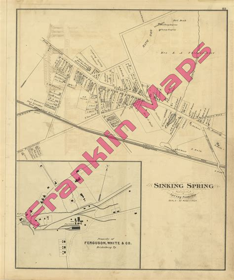 Sinking Borough Berks County Pa by Andy S Antique Maps 1876 Berks County