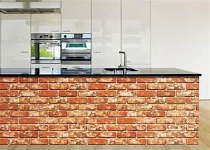 Tapete selbstklebend dekofolie rotbrauner ziegelstein for Markise balkon mit apricot tapete
