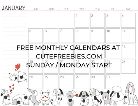 printable calendar happy year cute freebies
