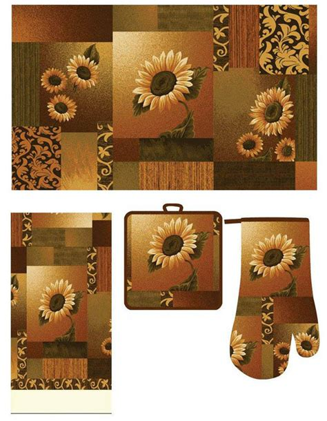 kitchen mat sets casual kitchen accessory printed mat towel oven mitt pot