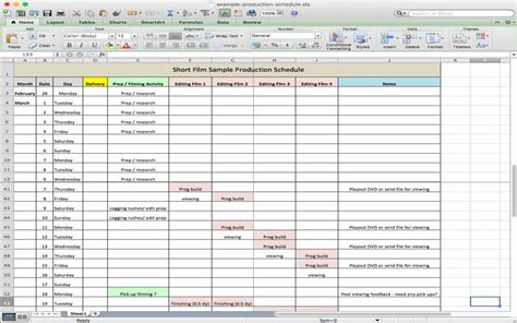 Manufacturing Schedule Template by 5 Useful Microsoft Excel Templates For Tv