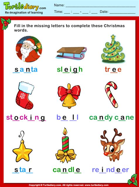 Fill Missing Letters Christmas Vocabulary Worksheet  Turtle Diary