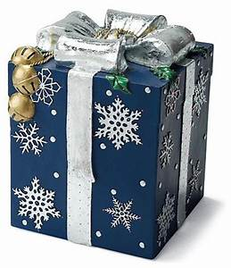 Blue Fiber optic Gift Box Outdoor Christmas Decorations
