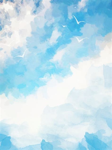 Pure Hand Painted Style Watercolor Blue Sky With White