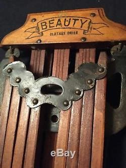 vtg antique beauty wall mount clothes dryer  quilt linens display rack