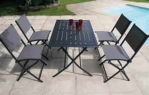 Ensemble Table Chaise Jardin : ensemble table et 4 chaises de jardin pliantes gris fonc ~ Mglfilm.com Idées de Décoration