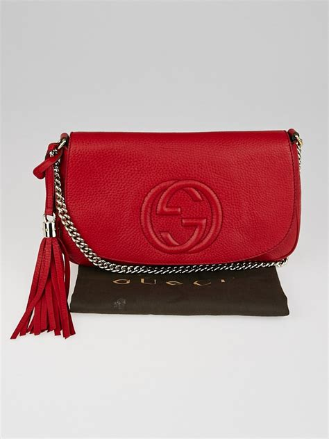 gucci red leather soho chain shoulder crossbody bag yoogis closet