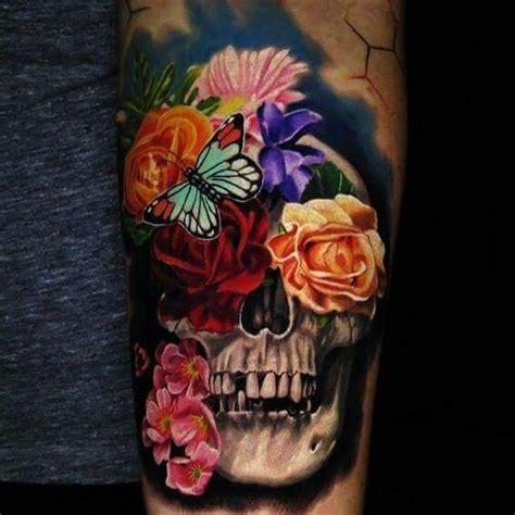 pin  bobbie marks  tattoos skull tattoo flowers