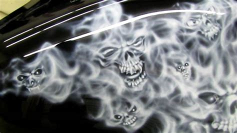 airbrushed skulls  smoked flames motorcycle www