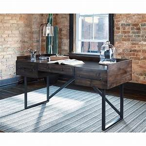 Signature, Design, By, Ashley, Starmore, H633, Industrial, Home, Office, Desk, With, Steel