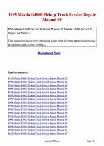 1995 Mazda B4000 Pickup Truck Service Repair Manual 95 By