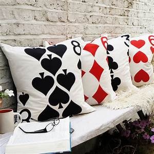 Applique, Playing, Card, Cushion, Cover, By, Cushions, Covered