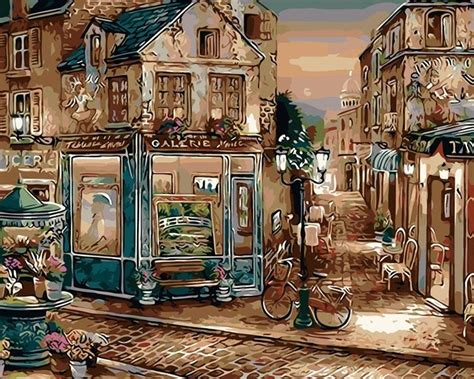 Coffee shop painting french cafe original 18 x 24 oil painting by. Europe Coffee Shop Artwork - DIY Paint By Numbers - Numeral Paint