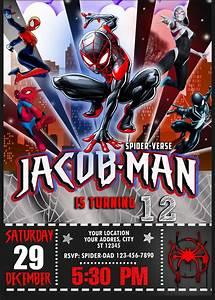 Printable Superhero Party Invitations Spider Man Into The Spider Verse Birthday Invitation