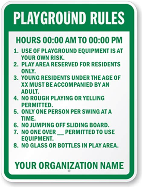 playground rules for preschoolers playground hours signs 131