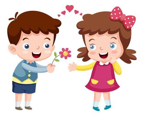 Naklejka Ilustracja Chłopiec I Dziewczynka • Pixers