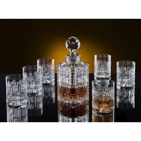 la maison du cristal whiskey decanter set with 6 glasses bohemia