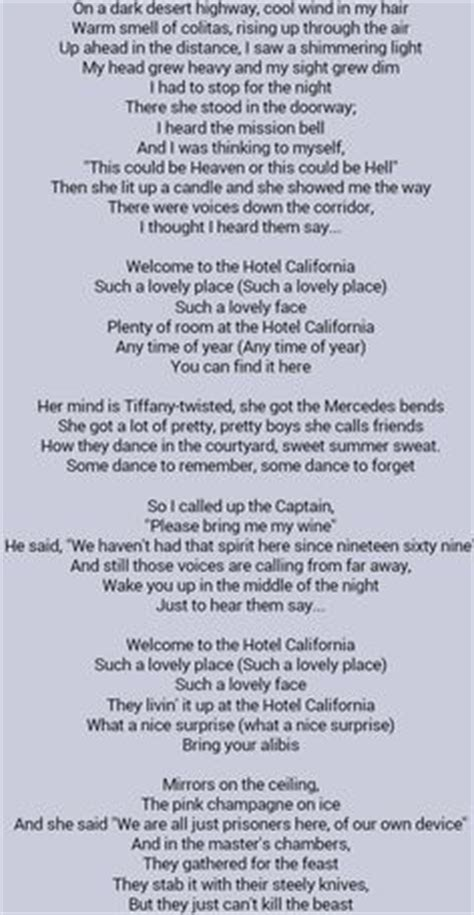 Small Boat Song Lyrics by 1000 Ideas About Hotel California On Glenn
