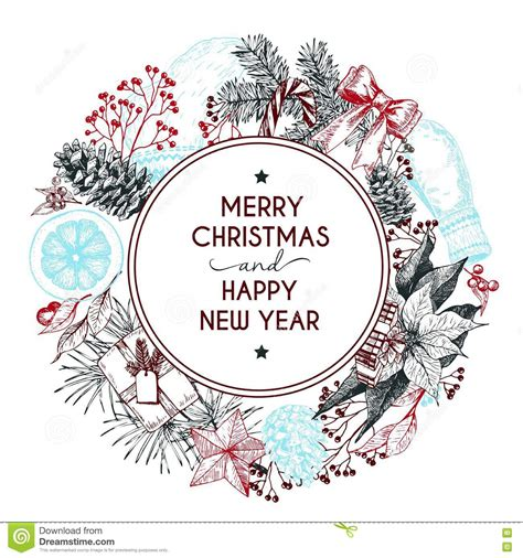 Vector Hand Drawn Greeting Card Merry Christmas And Happy