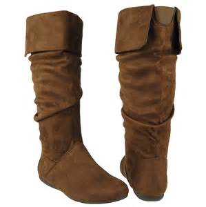womens brown boots nz womens casual comfort mid calf slouchy cuffed collar faux suede flat boots brown ebay