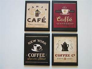 Coffee plaques pc country red black beige kitchen wall