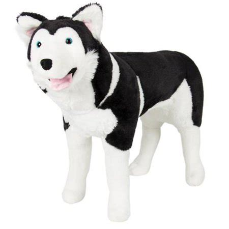 large husky dog plush animal realistic soft stuffed toy