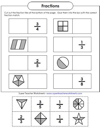 Basic Fraction Worksheets & Manipulatives