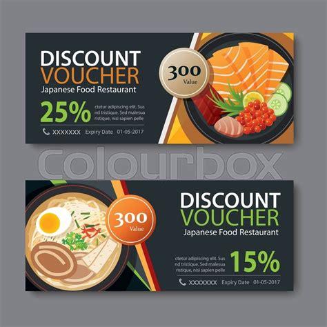 cuisine discount quetigny discount voucher template with japanese food flat design
