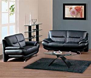 Black living room furniture sets for Decorate living room black leather furniture