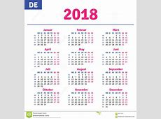 Duitse kalender 2018 vector illustratie Illustratie