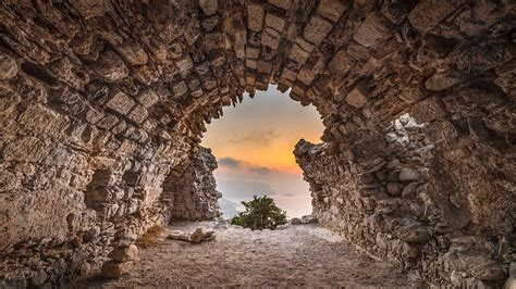 wallpaper temple trees landscape sunset sea rock