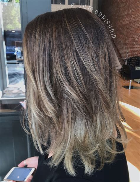dark ash blonde sombre balayage highlights  rooty