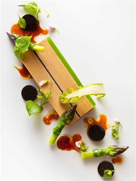 cuisine foie gras foie gras terrine with green asparagus miner s lettuce