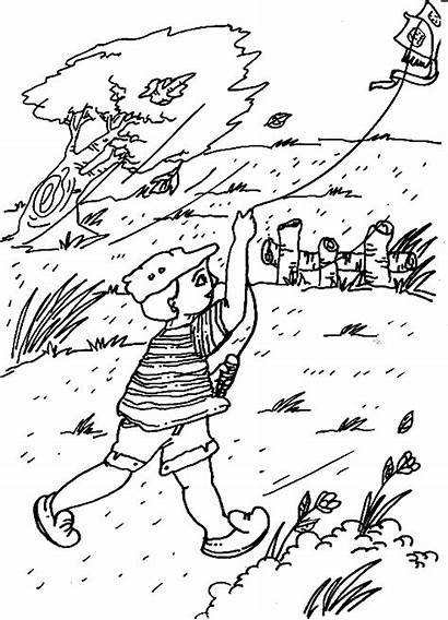 Coloring Wind Pages Blowing Windy Printable Getcolorings