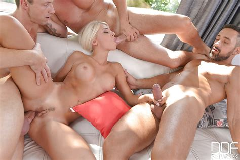 beautiful blonde babe chloue lacourt taking anal creampie in gangbang
