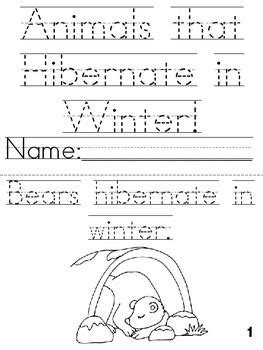 animals that hibernate in winter cut trace color printable book winter craft ideas