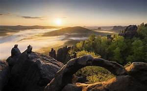 Nature, Landscape, Sunset, Forest, Mist, Hill, Rock