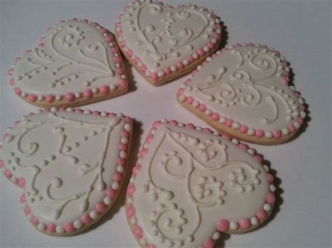 decorated wedding cookies white and pink heart shape by miszisz 30 00 decorated cookies