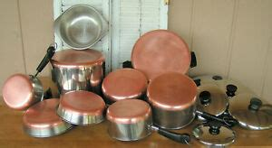 pc vtg revere ware copper bottom set lot pots pans skillets usa cookware ebay